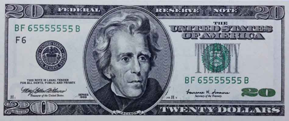 Bancnota De 20 De Dolari