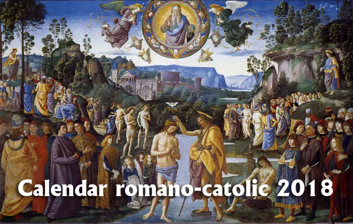 Calendar Romano-catolic 2018